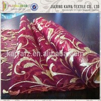 Pretty decorations fashion design cheap red organza fabric flocking