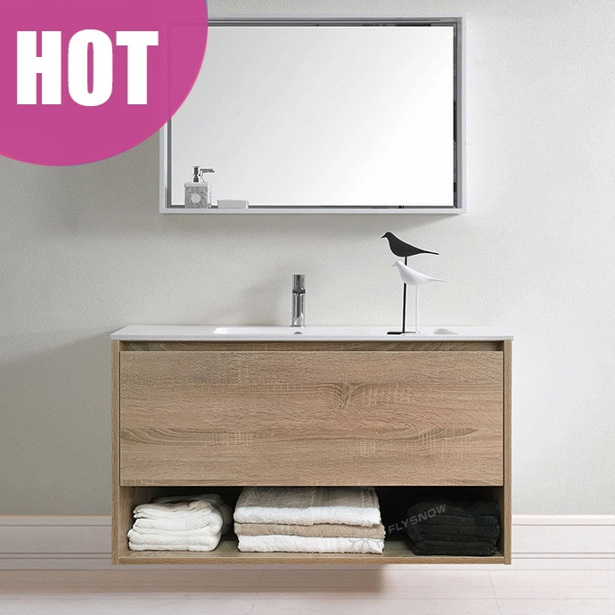 900mm <strong>Oak</strong> Timber Wood Grain bathroom cabinet Wall Hung Vanity Towel Shelf Ceramic