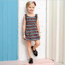 Japanese 10 year olds girls without sleeve lace printing loose short dress