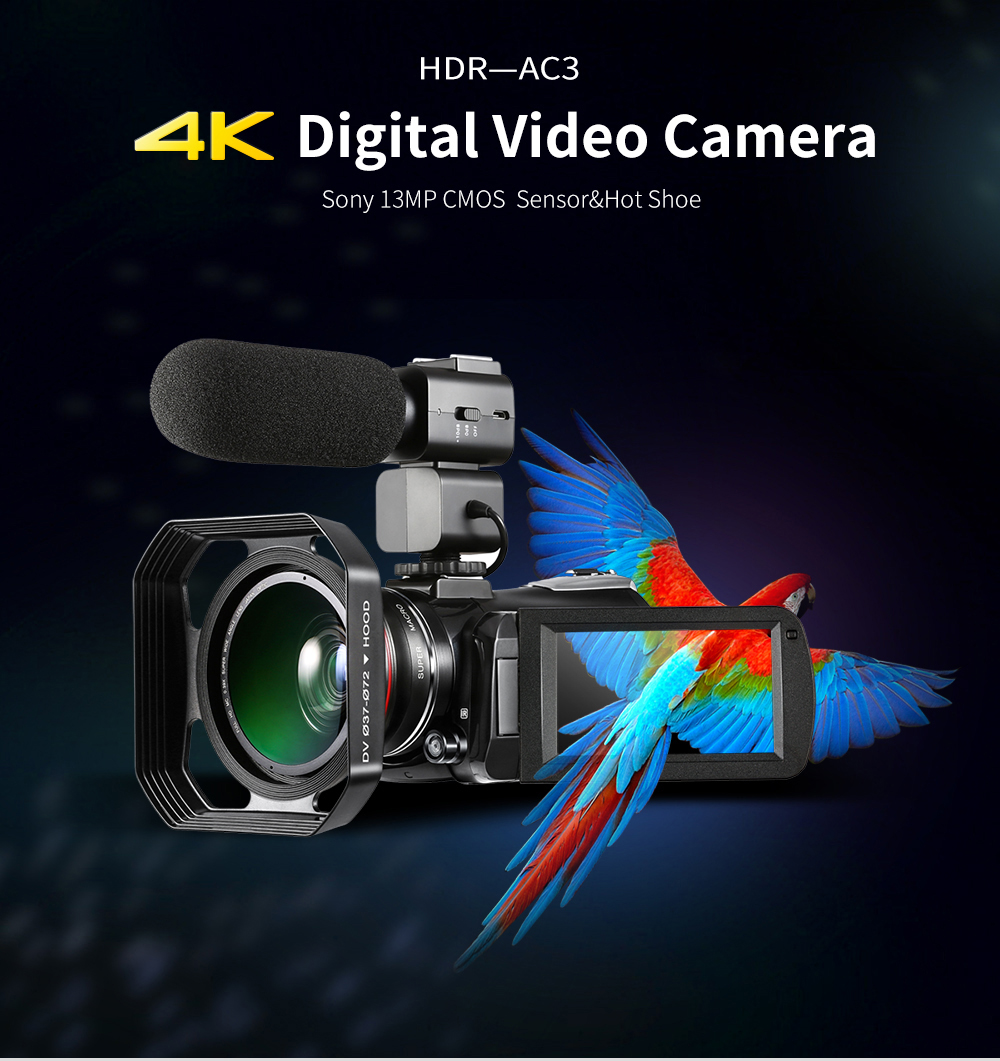 AC3 UHD camcorder 4K IPS screen professional camera infrared 4K camcorder