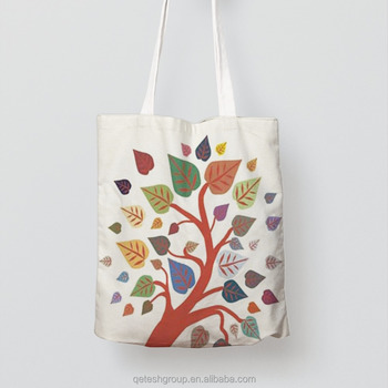 High Quality Natural Printed Calico Canvas Shopping Tote Cotton Bag