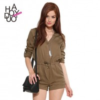 Women Roll Sleeve Short Jumpsuits Deep V Playsuits Tie Rompers with Belt for Wholesale Haoduoyi