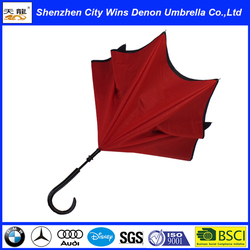 "High quality wholesale daily need product fiberglass ribs 23"" inside red&outside black unique products double layers inside out"