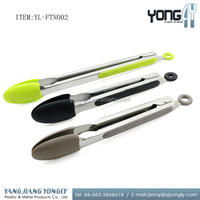 Rust-Resistant Stainless Steel Food Tongs With Silicone Heads cooking utensil