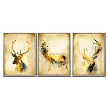Nordic Decor 3 Panels Golden Deer Wall Canvas Painting With Outer Frame For Factory Custom