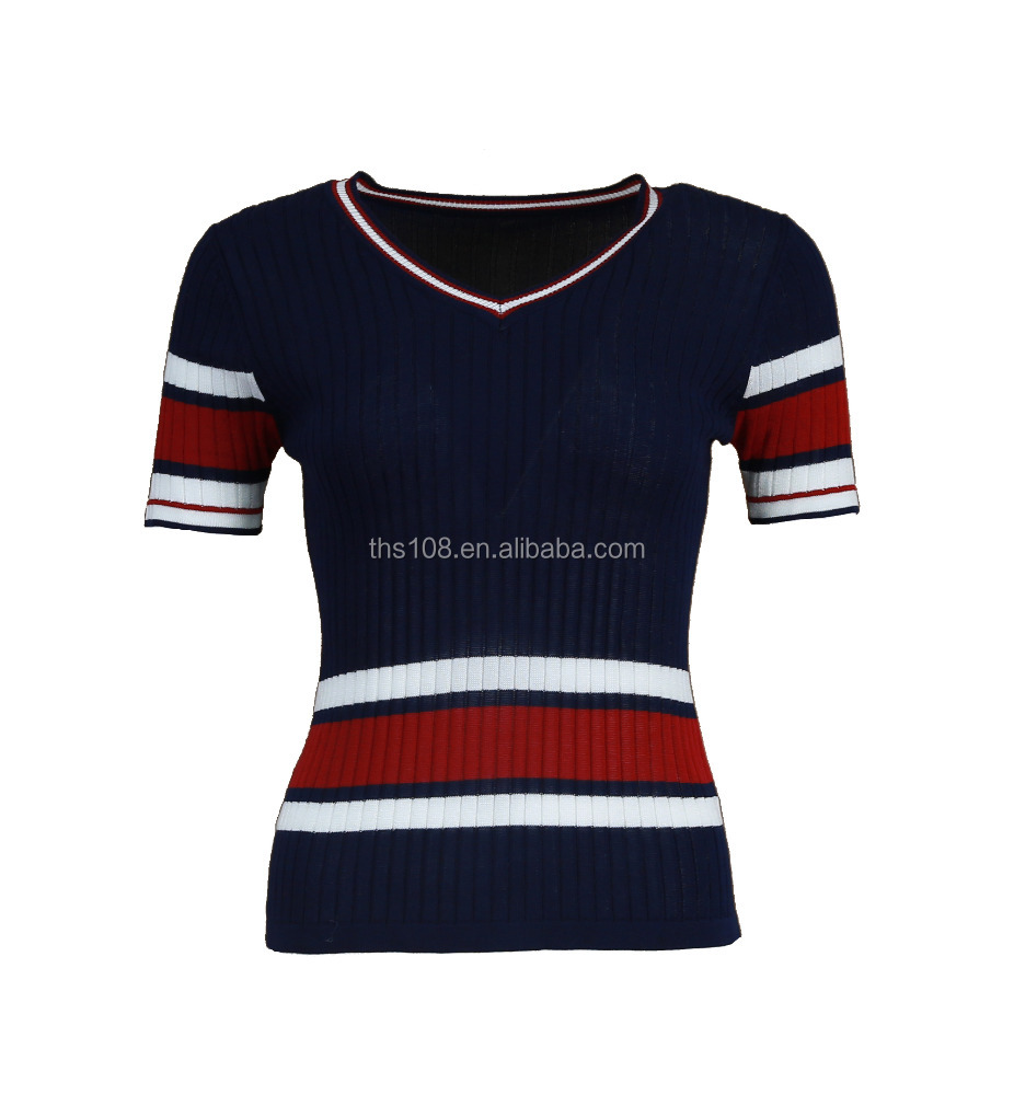 WOMEN'S KNITTED PULLOVER SWEATER SHORT SLEEVE IN MULTI STRIPE