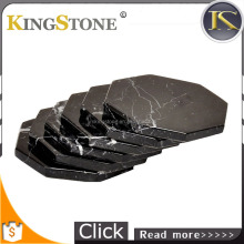 hexagon shape natural black stone coasters black marble coaster