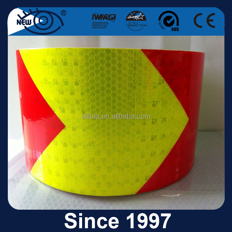 15cm width hazard warning pressure sensitive type retro PVC reflective tape with high visibility grade
