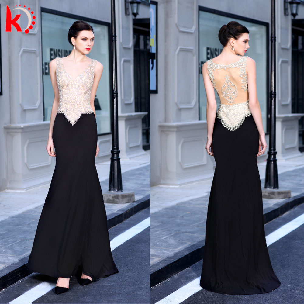 Elegant Wholesale V-Neck Transparent Backless Handmade Beading Mermaid Long Formal Lady Evening Dress 2016 Sexy