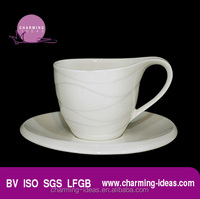 Porcelain waved shape coffee cups and saucers