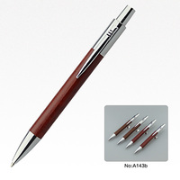 Promotional click leather ballpoint pen with orange and brown color