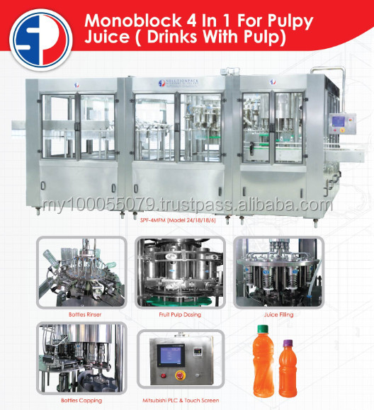 Monoblock 4 in 1 For Pulpy Juice ( Drink with pulp)