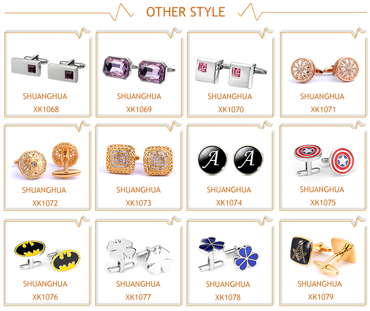 Wholesale metal copper men rhinestone cuff links for suit