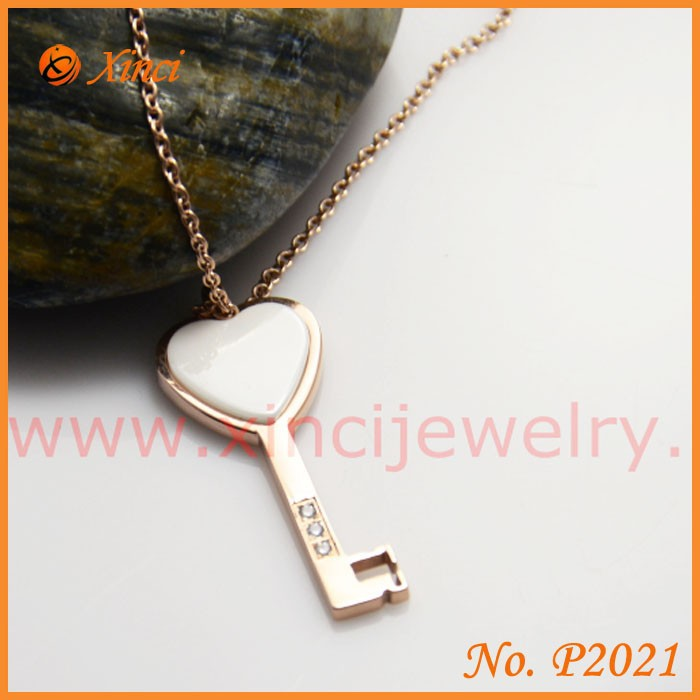 Jewelry for valentines day gift 2015 ceramic heart key pendant necklace