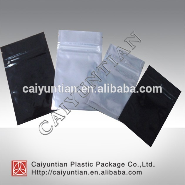 Customized plain mylar aluminumn foil three side zipper bag one side transparent bag for computer device, incense,USB cable etc