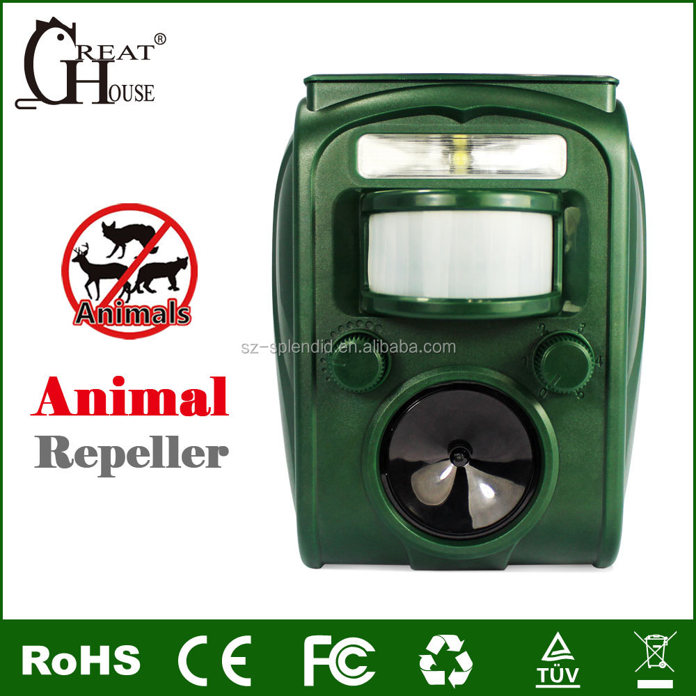 GH-501 Multiple solar PIR ultrasonic skunk marte bird repeller with alarm sound