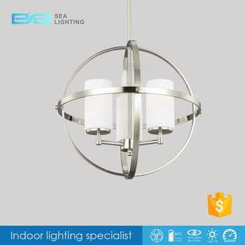 Modern Silver Chrome and Opal Glass 3 Arm Ceiling Light Chandelier Pendant 2103426