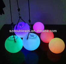 slow and fast flashing light up ball,rgb color changing poi juggling ball