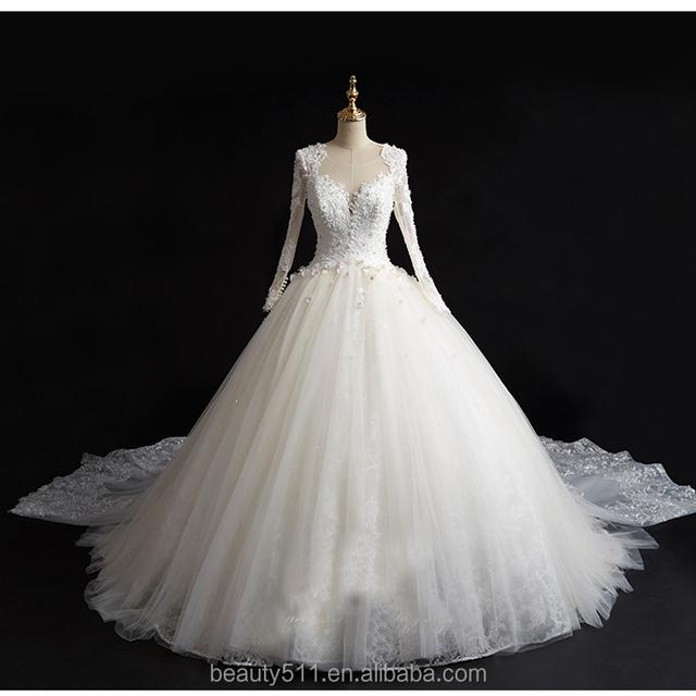 Strapless Mermaid Chapel Train Lace Long sleeves Appliqued Ivory Satin Wedding Dress TS132