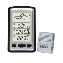 Wireless Weather Station Digital large LCD Home Thermometer In/Outdoor Temperature Meter Alarm table Clock With Remote Sensor