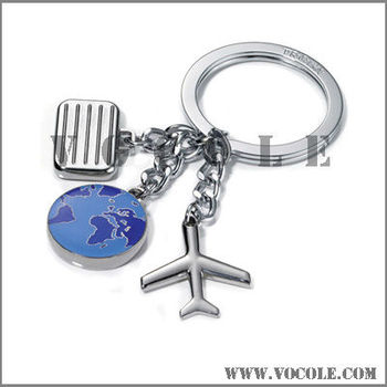 Travel earth plane luggage charm stainless steel keychain