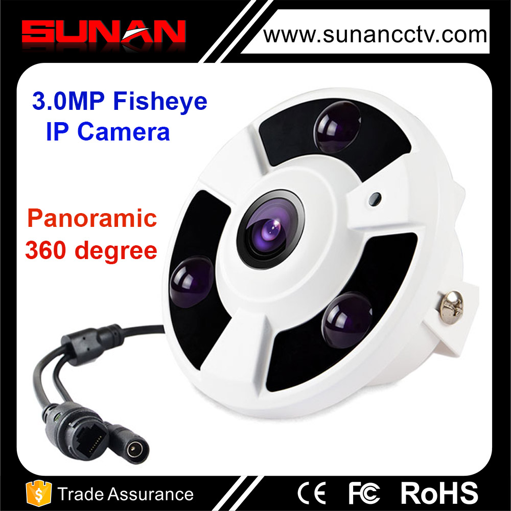 3.0MP HD fisheye ip camera 360 degree with panoramic view and p2p function