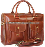 Genuine Leather Briefcase Men's 15'' Laptop Case Shoulder Messenger Bag
