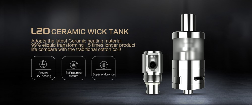 Rechargeable Electronic Cigarettes ceramic wick L20 Ceramic Wick Tank wholesale e cigarette starter kit