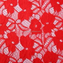 high quality jacquard bridal red cord lace embroidery fabric coral color