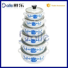 6pcs Printed enamel used in kitchen enamel ware with glass lid and decor