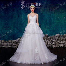Latest Design Dress Plunge V Neckline Lace Appliqued Tulle Backliess Bridal Wedding Gown