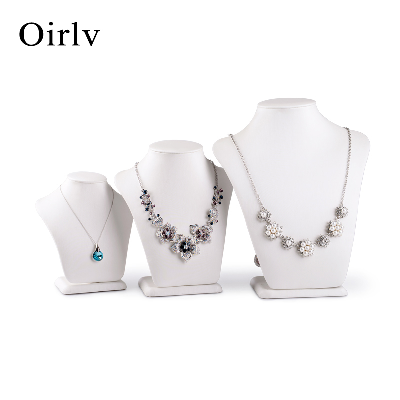 Oirlv Wholesale China Manufacture Customize Soft PU Necklace Displays Stand Bust White Leather Jewelry Display Mannequin
