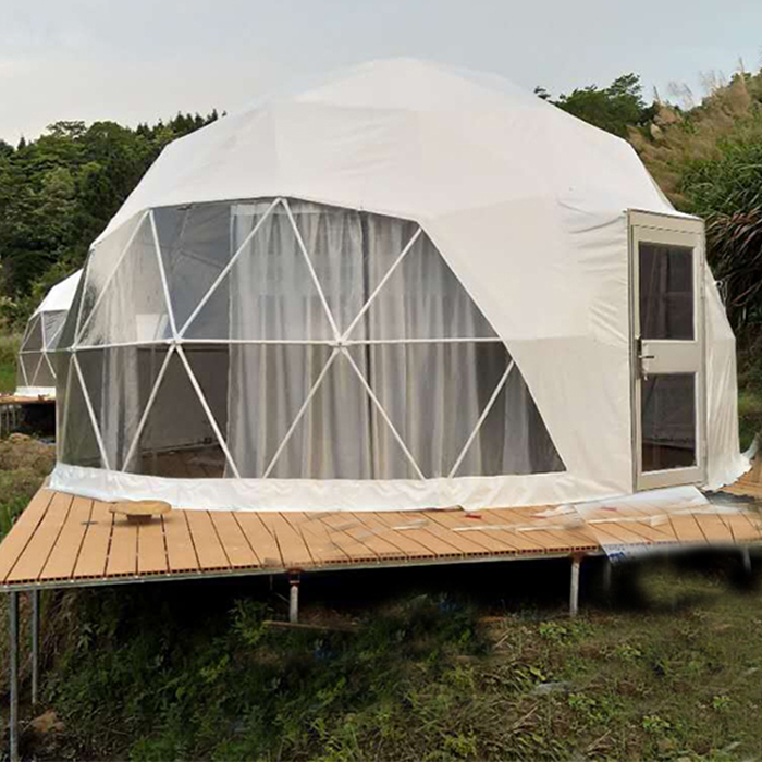 Hotel Camping Prefab <strong>Tents</strong> Resort Waterproof Glamping Geodesic Dome House <strong>Tent</strong> with Curtain and Door