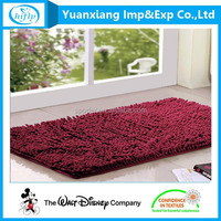 Wholesale Wine Color Chenille Door Rug with Plastic Dots Back