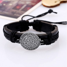 Yiwu cheap leather cuff black bracelets with engraved metal plate monogram coin boy gift
