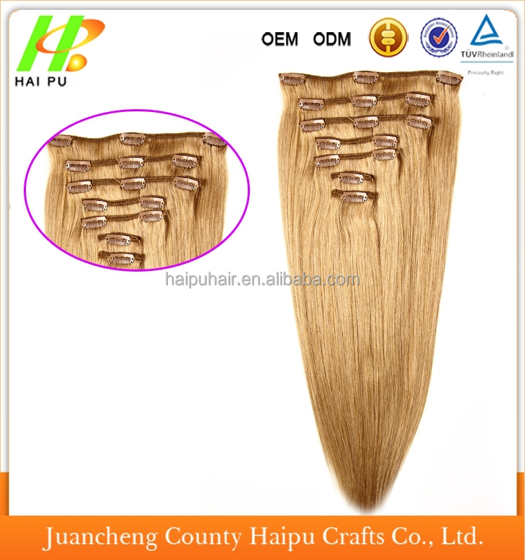 Hot selling double drawn high quality Brazilian remy hiar 100% human hair clip in hair extension