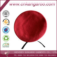 Red Black Military 100% Wool Felt Beret with Leather Binding and Flexible Nylon Braid OEM Service