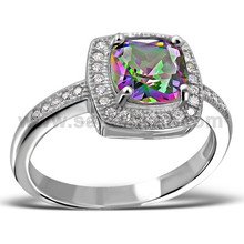 Mysteries Rainbow Color Full Gemstone Stunning Cubic Zirconia Tiny Stones 925 Sterling Silver Ring