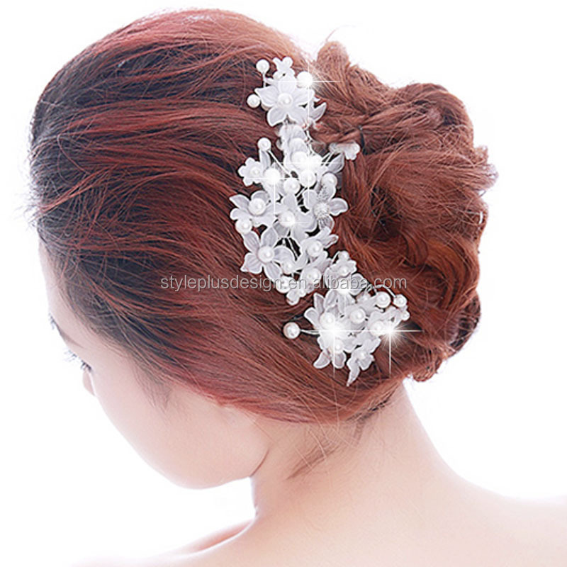 FC977 Wholesale handmade lace pearl bridal hairband wedding dress hair pin