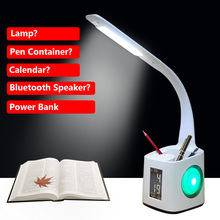 Wireless Dimmable Touch Sensor USB Color Changing LED Table Lamp, Power Bank Speaker Temperature Function Desk Lamp