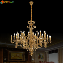 Factory supply modern simple design 60 light antique brass candle chandelier