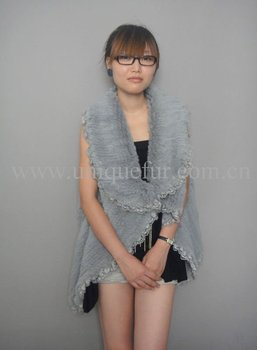 Rabbit fur knitted coat