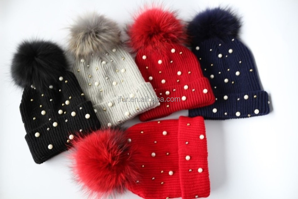 hot sale acrylic knitting ladies fashion pearl decoration knitted hat for women