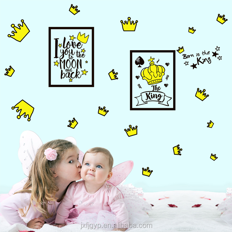 I Love You to the Moon and Back Quotes Cartoon Crowns Decorative Sticker Children Wall