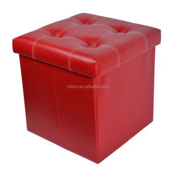 Factory Wholesale Classical Solid Red PVC/ Faux Leather Magic Foldable Ottoman/Storage Ottoman/Storage Box/Ottoman with Button