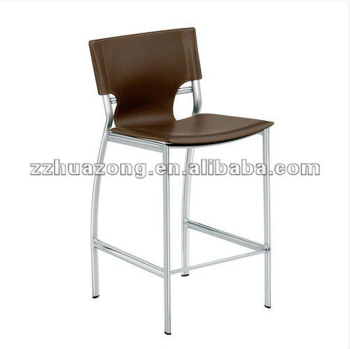 Brown Bar Stool Modern Elliptical Steel Frame