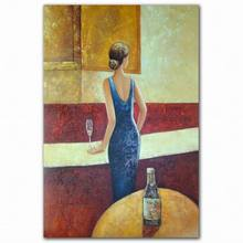Wholesale handmade abstract nudy lady in bar sex photo oil painting