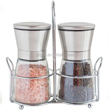 Top quality 18/8 SS Salt and Pepper Shakers with Matching Stand Salt and Pepper Grinders