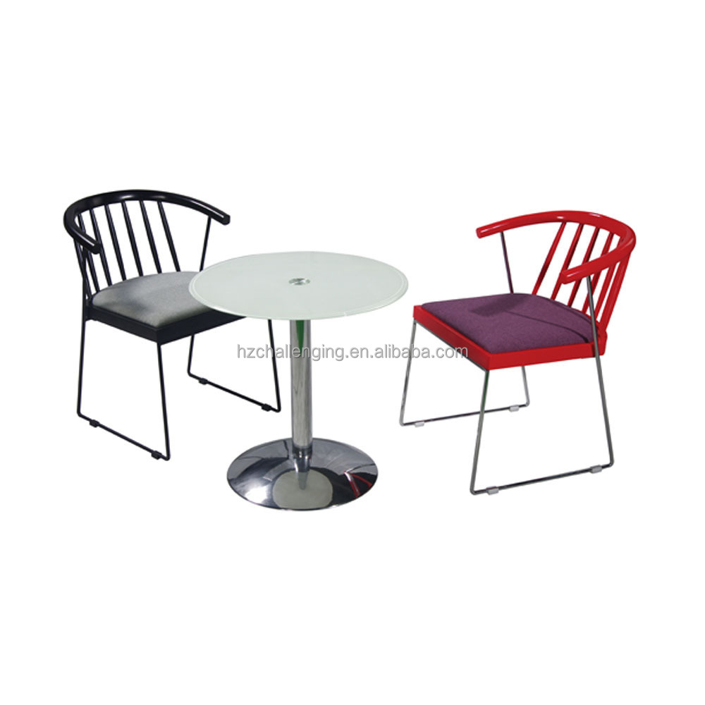 Hotel Furniture Steel Framework Restaurant Dining Table And Low Back Red Chair