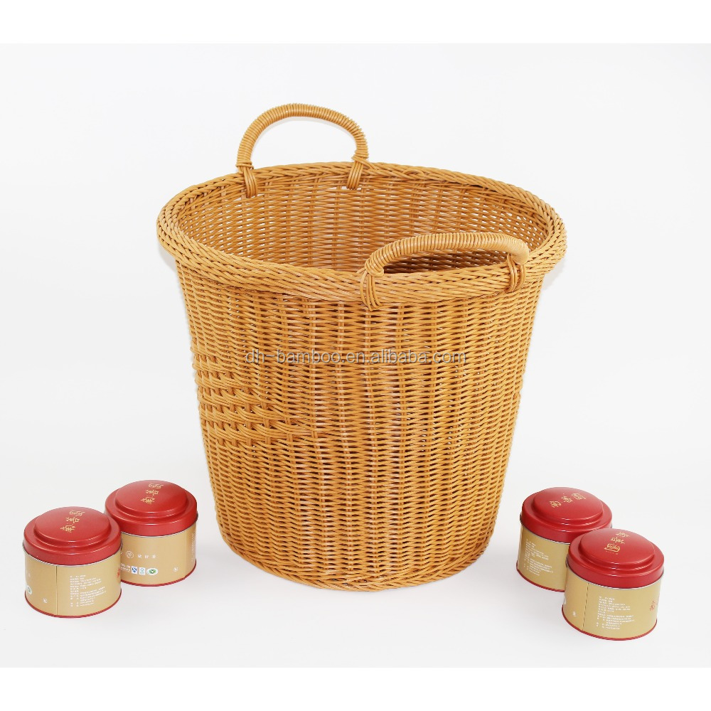 Hot Sales Round Plastic Rattan Cane Laundry Basket For Clothing With Handle